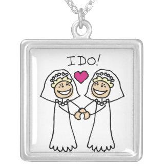 Lesbian Wedding Bridal Square Pendant Necklace