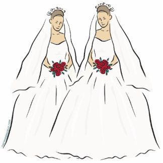 Lesbian Wedding Cake Topper Standing Photo Sculpture