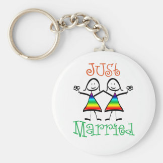 Lesbian Wedding Favors Basic Round Button Key Ring