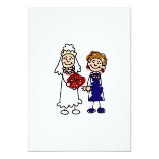 """Lesbian Wedding One Bride 5"""" X 7"""" Invitation Card"""
