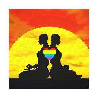 Lesbian yoga love - 3D render Canvas Print
