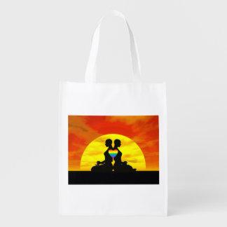 Lesbian yoga love - 3D render Reusable Grocery Bag