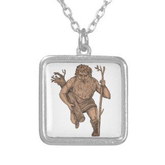 Leshy Tree Runk Staff Tattoo Silver Plated Necklace