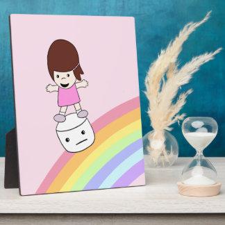 Lesley Surfs Rainbow w Marshmallow Plaque w Eisel