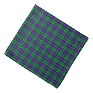 Leslie Clan Hunting Tartan Green and Blue Plaid Bandana