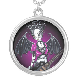 """Leslie"" Gothic guitar fairy necklace"