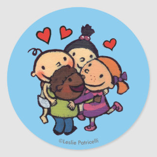 Leslie Patricelli Group Hug with Friends Classic Round Sticker