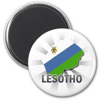 Lesotho Flag Map 2.0 6 Cm Round Magnet