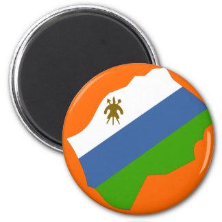 Lesotho flag map 6 cm round magnet