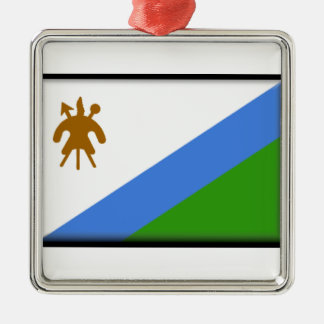 Lesotho Flag Silver-Colored Square Decoration