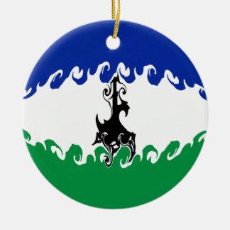 Lesotho Gnarly Flag Christmas Ornament