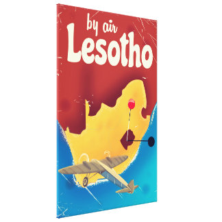 Lesotho Vintage travel flight poster Canvas Print