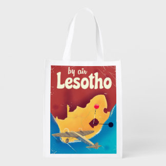 Lesotho Vintage travel flight poster Reusable Grocery Bag
