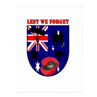 Lest We Forget Australian Diggers Postkarten