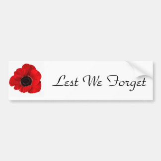 Lest We Forget Bumper Sticker