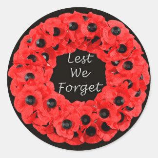 Lest We Forget (Poppy Wreath) Round Sticker