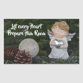 Let every Heart Prepare Him Room, Christmas Carol Rectangular Sticker