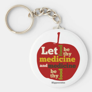 let food be thy medicine and medicine be thy food basic round button key ring