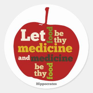 Let Food be thy Medicine APPLE Round Sticker