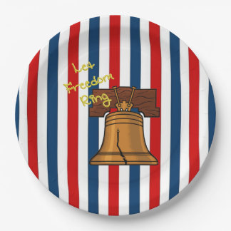 Let Freedom Ring July 4th Party Paper Plates 9 Inch Paper Plate