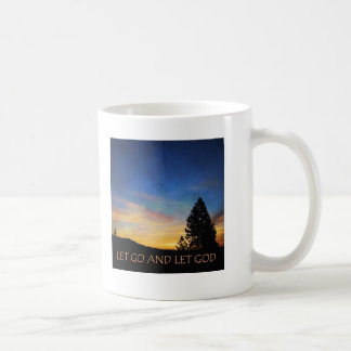 Let Go and Let God Blue Orange Sunrise Coffee Mug