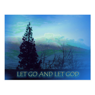 Let Go and Let God Tree and Hills Postcard