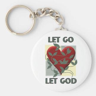 Let Go Let God Basic Round Button Key Ring
