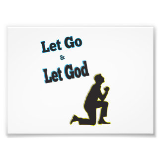 Let go let God prayer blue man Photo Print