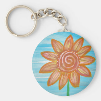 Let It Be Hippie Flower original painting Basic Round Button Key Ring