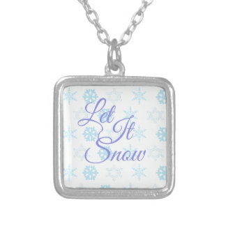 Let it be Snowy Christmas Silver Plated Necklace