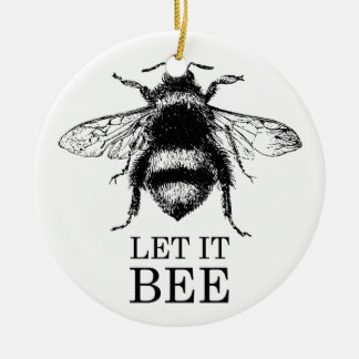 Let It Bee Vintage Nature Bumble Bee Ceramic Ornament