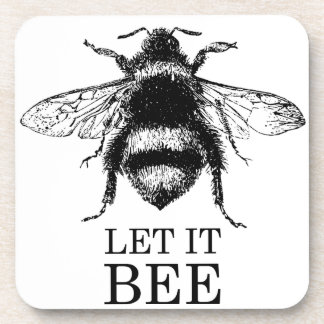 Let It Bee Vintage Nature Bumble Bee Coaster