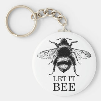Let It Bee Vintage Nature Bumble Bee Key Ring