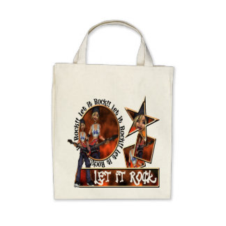 Let It Rock - Organic Grocery Tote Canvas Bag