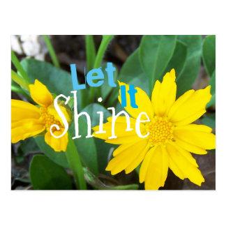 Let It Shine yellow flower Postcard
