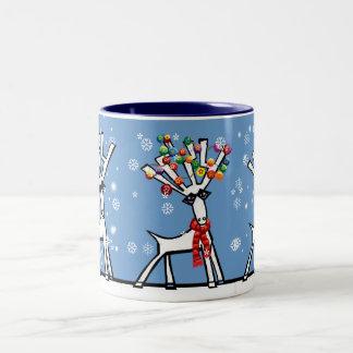 let it snow 3 Christmas reindeer Mugs