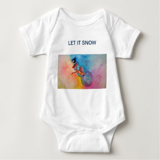 Let it Snow Baby One Piece t shirt with snaps