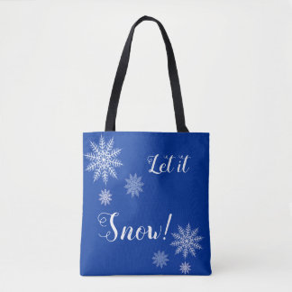 Let it Snow! Blue and White Snowflake Totebag Tote Bag