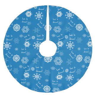 Let It Snow Blue Brushed Polyester Tree Skirt