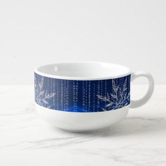 Let it Snow Blue Christmas Soup Bowl
