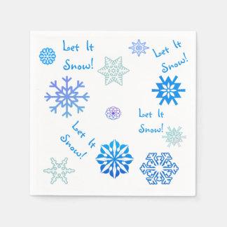 Let It Snow Blue Color Choice Background Paper Napkin