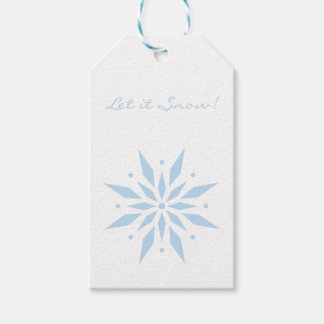 Let it Snow Blue Snowflake Christmas Gift Tags