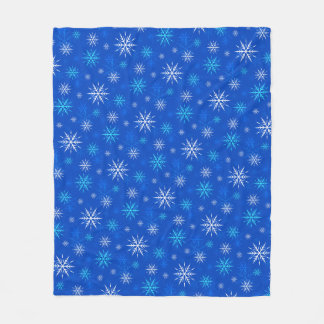 Let It Snow, Blue Snowflake Pattern Fleece Blanket
