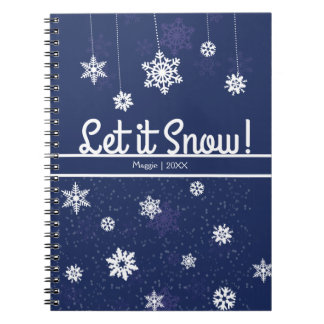 Let it Snow, Blue Snowflake Spiral Note Book