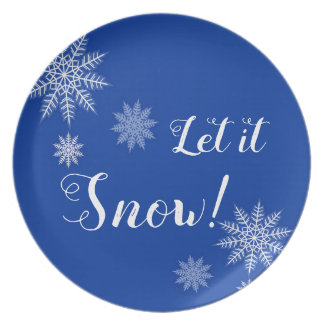 Let it Snow! Blue & White Snowflake Holiday Plate