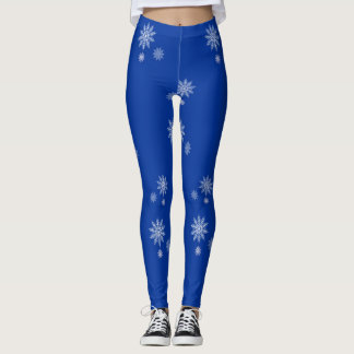 Let it Snow Blue & White Snowflake Winter Leggings