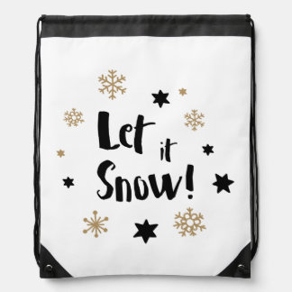 """Let it Snow!""  Calligraphy Christmas Drawstring Bag"