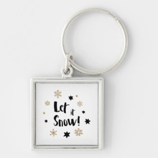 """""""Let it Snow!""""  Calligraphy Christmas Key Ring"""