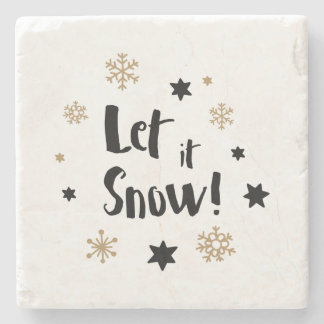 """Let it Snow!""  Calligraphy Christmas Stone Coaster"