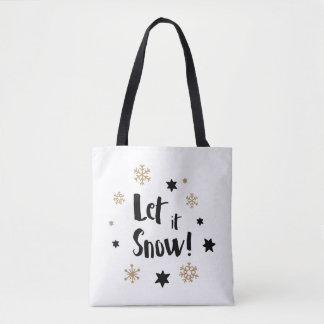 """Let it Snow!""  Calligraphy Christmas Tote Bag"